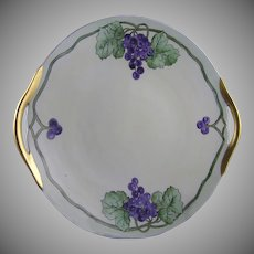 "B&Co. Limoges Grape Motif Handled Plate (Signed ""Christine Y.""/Dated 1923)"
