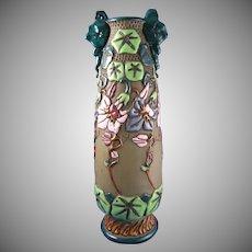 Austrian Amphora Arts & Crafts Floral Enameled Vase (c.1900-1905)