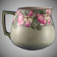 "Willets Belleek (American) Apple Motif Cider Pitcher (Signed ""Nina F. Norris""/c.1897-1912)"
