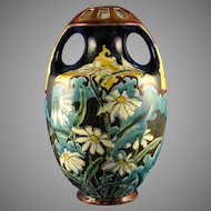 Ernst Wahliss EW Turn Habsburg Crown China Arts & Crafts Daisy Motif Vase (c.1897-1906)