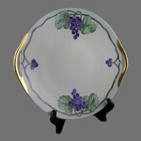 "B&Co. Limoges Grape Design Handled Plate (Signed ""Christine Y.""/Dated 1923)"