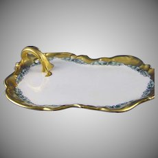 "T&V Limoges Butterfly Motif Handled Tray/Dish (Signed ""F.M. Stoddard""/Dated 1915) - Keramic Studio Design"
