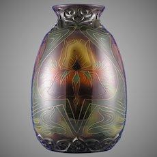 Royal Bonn Germany Art Nouveau Tube-Lined Iris Design Vase (c.1890-1923)