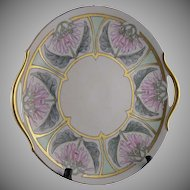 PH Leonard Austria Floral Motif Handled Serving Plate (Signed/c.1912-1920) - Keramic Studio Design