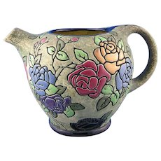 Czechoslovakia Amphora Arts & Crafts Enameled Floral Design Pitcher (c. 1918-1939)