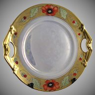 "B&Co. Limoges Poppy Motif Serving Plate (Signed by Stouffer Artist ""Stens""/c.1900-1914)"