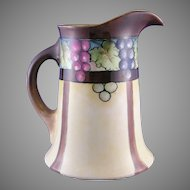 "WG&Co. Limoges Grape Motif Pitcher (Signed ""LeHuranns""/c.1900-1932)"