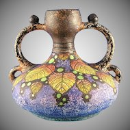Czecho-Slovakia Amphora Arts & Crafts Berry Motif Handled Vase (c. 1918-1936)