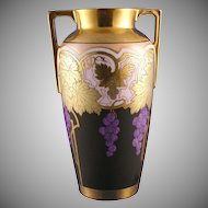"Heinrich & Co. (H&Co) Bavaria Art Nouveau Grape Motif Osborne Art Studio Vase (Signed ""Osborne""/c.1910-1920)"