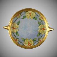 """Rosenthal Donatello Chrysanthemum Motif Handled Serving Plate/Dish (Signed """"Mattia B. Norris""""/c.1907-1940)"""