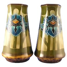 Royal Bonn Germany Tube-Lined Arts & Crafts Floral Vase Pair (c.1890-1923)
