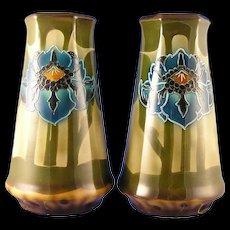 Royal Bonn Germany Tube-Lined Arts & Crafts Floral Vase Pair (c.1890-1923)