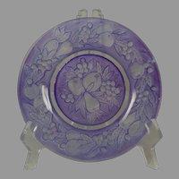 "Consolidated Glass Martele ""Five Fruits"" Design Purple Wash Plate (c.1926-1933)"