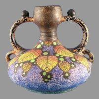 Czecho-Slovakia Amphora Arts & Crafts Berry Design Handled Vase (c. 1918-1936)