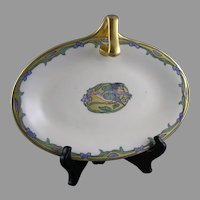 "P&P Limoges Blue Bird Motif Handled Dish/Tray (Signed ""MMC""/Dated 1913)"