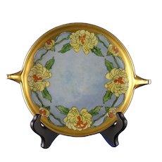 "Rosenthal Donatello Chrysanthemum Design Handled Serving Plate/Dish (Signed ""Mattia B. Norris""/c.1907-1940)"