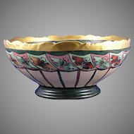 "T&V Limoges ""Rosedale"" Butterfly Motif Centerpiece/Punch Bowl (Signed ""L. Chickesten""/c.1908-1930) - Keramic Studio Design"