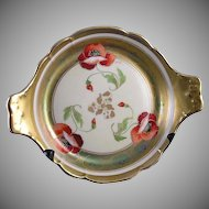 "T&V Limoges Pickard Poppy Motif Handled Dish (Signed ""John Fuchs""/c.1905-1910)"