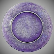 Consolidated Glass Martele Purple Wash Pheasant Plate (c. 1920's)