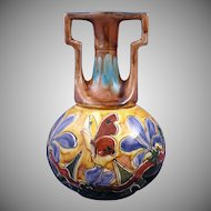 Old Moravian Austria Floral & Butterfly Motif Vase (c.1899-1918)