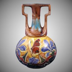 Old Moravian Austria Arts & Crafts Floral & Butterfly Motif Vase (c.1899-1918)