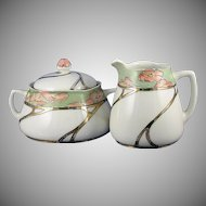 "Hermann Ohme Silesia Poppy Motif Creamer & Sugar Set (Signed ""V. McKee""/Dated 1908)"