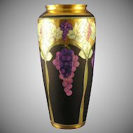 "Rosenthal Bavaria Pickard Lustre Grapes & Leaves Vase (Signed ""Hess""/c.1905-1910)"