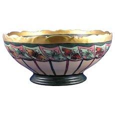 "T&V Limoges Butterfly Motif Centerpiece/Punch Bowl (Signed ""L. Chickesten""/c.1908-1930) - Keramic Studio Design"