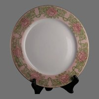 "P&P Limoges Rose Design Plate (Signed ""CM Harrison""/c.1903-1917)"