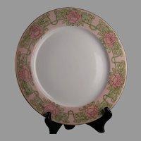 """P&P Limoges Rose Design Plate (Signed """"CM Harrison""""/c.1903-1917)"""