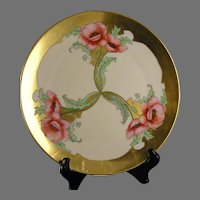 "Thomas Bavaria Poppy Design Plate (Signed ""S. Hilmer""/c.1908-1920)"