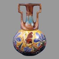 Old Moravian Pottery Austria Floral & Butterfly Design Vase (c.1899-1918)