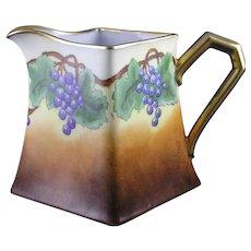 """PL Limoges Grape Design Pitcher (Signed """"J. Walters""""/c.1905-1930)"""