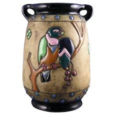 """Amphora Austria Arts & Crafts """"Campina"""" Parrots Design Vase (c.1905-1910)"""