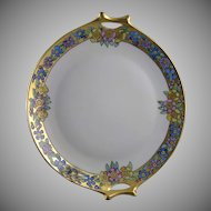 "Hutschenreuther Selb Bavaria Floral Handled Plate (Signed ""C. Burton""/c.1920-1940)"