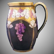 "Pickard ""Lustre Grapes & Leaves"" Design Pitcher (Signed ""Hessler""/c.1905-1910)"