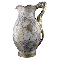 Amphora Austria Saurian Handled Grape Motif Pitcher (c.1899-1905)
