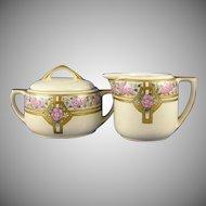 MZ Austria Floral Design Creamer & Sugar Set (Signed/c.1916-1930) - Keramic Studio Design