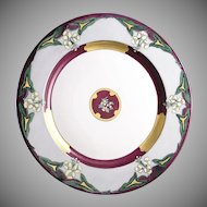 Limoges 'Mark 6' Enameled Floral Design Plate/Charger (c.1920-1930)