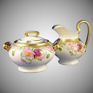 Stouffer Studios Floral Motif Creamer & Sugar Set (Signed/c.1905-1906)
