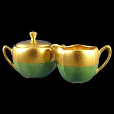 """RS Germany Pickard Studio Green & Gold """"Rose & Daisy AOG"""" Creamer & Sugar Set (c.1925-1930) - Red Tag Sale Item"""