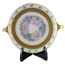 """RS Tillowitz Silesia Floral Motif Handled Dish (Signed """"Ruby Y. Dillman""""/c.1904-1938)"""