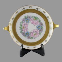 """RS Tillowitz Silesia Floral Motif Handled Dish/Tray (Signed """"Ruby Y. Dillman""""/c.1904-1938)"""