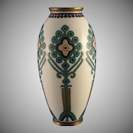 "Lenox Belleek (American) ""Cross Stitch Embroidery"" Pattern Vase (c.1920-1930) - Keramic Studio Design"