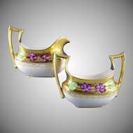"Favorite Bavaria Stouffer Studios Violet Design Creamer & Sugar Set (Signed ""WS""/c.1906-1914)"