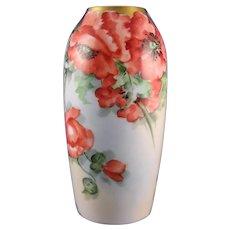 """Rosenthal Bavaria Poppy Design Vase (Signed """"G. Champlin""""/c.1901-1940)"""