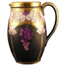 """Pickard Studios """"Lustre Grapes & Leaves"""" Design Pitcher (Signed """"Hessler""""/c.1905-1910)"""
