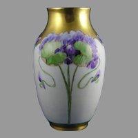 """Rosenthal Bavaria Violet Design Vase (Signed """"B.C.""""/c.1901-1930)"""