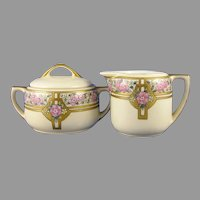 "MZ Austria Floral Design Creamer & Sugar Set (Signed ""J. Reid""/c.1916-1930) - Keramic Studio Design"