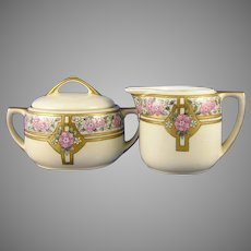 """MZ Austria Floral Design Creamer & Sugar Set (Signed """"J. Reid""""/c.1916-1930) - Keramic Studio Design"""